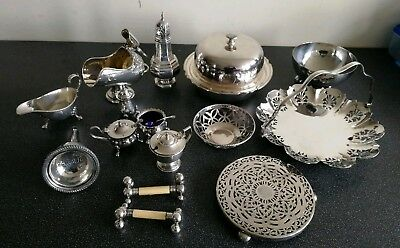 Job Lot Quality Silver Plated items - inc. Mappin & Webb 3 piece domed server