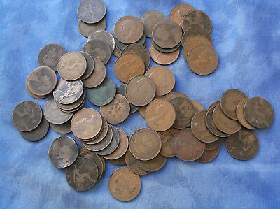 Job lot of old Penny Coins -- various dates