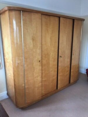 ART DECO Style Birds Eye Maple Veneer Large 4-Door Freestanding Wardrobe  - P29