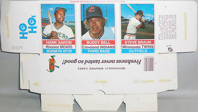 -Rare- 1976 -Hank Aaron- Vintage Hostess Baseball Cards Complete Uncut Box