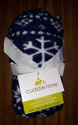 Cuddle Time Baby Blanket 30 inch x 30 Inch NEW Navy Blue with Snowflakes SOFT