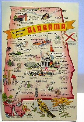 1951 Postcard Greetings From Alabama With Map Of Sites And Statistics