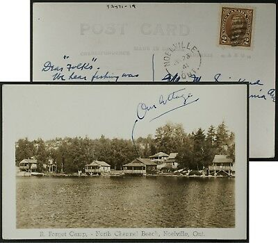 R Forget Camp North Channel Ontario  RPPC postmarked 1941 Sudbury Dist