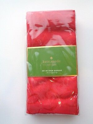 Kate Spade New York All Wrapped Up Set 4 Napkins Cotton Blend Red Cranberry NIP