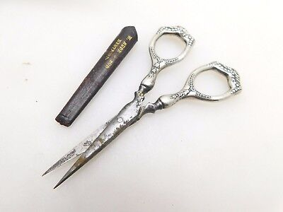 1909 Antique Edwardian Ornate Hallmarked Silver Handled Embroidery Scissors