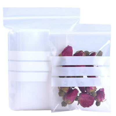 100x Writable Visible Clear Plastic Ziplock Bag Storage Jewelry Spice Food Pouch