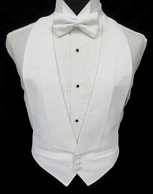 Men's White Pique Open-Back Tuxedo Vest Wedding Mason Tailcoat Damaged Discount