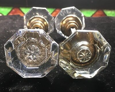 (4)Four Antique Vtg OCTAGON 8 POINT SIDED CRYSTAL GLASS & BRASS DOOR KNOB