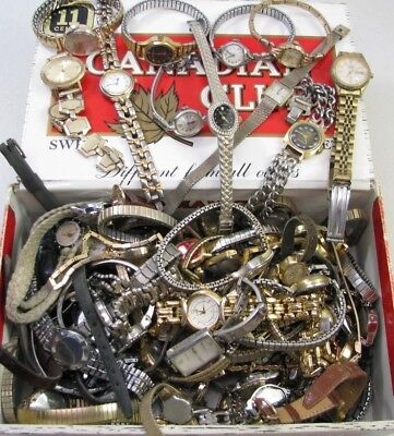 Large Lot Of Vintage Ladies Wristwatch Pocket Watch Movement Parts Repair