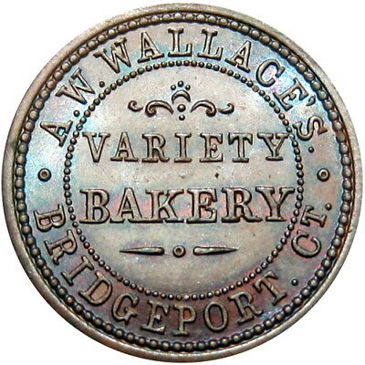 Bridgeport Connecticut Civil War Token A W Wallace's Variety Bakery