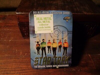 1996 30th Anniversary USS ENTERPRISE STAR TREK Metal Trading CARDS in TIN