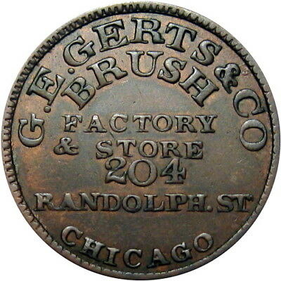 Chicago Illinois Civil War Token Gerts & Co Brush Factory & Store