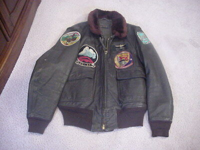 Leather Flight Jacket W/patches - Great Jacket  - Vet P/u