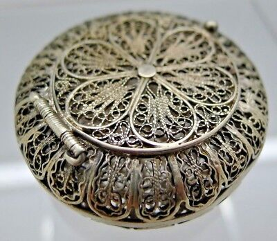 Antique Solid Sterling Silver Filligree Pill Box Unusual and hand Made Enourage1