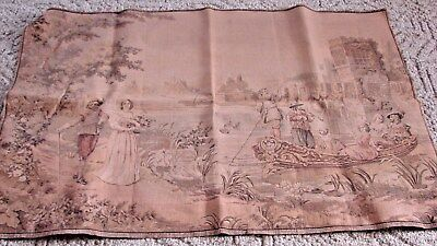 Antique 27 X 42 Romantic French Tapestry