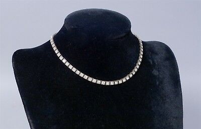 Vintage 1920s/30s Art Deco French 800 Silver Rhinestone Line Choker Necklace