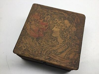 Antique Victorian Pyrogaphy Art Etched Carved Wood Box With Bust Of Woman
