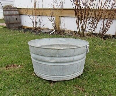 Vintage Galvanized Fireplace Coal / Ash Flower / Water Bucket Pail Can Primitive