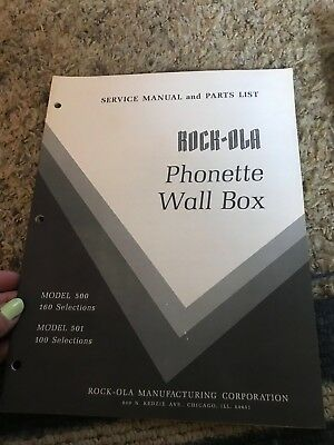 Rock-Ola Phonette Wall Box Manual Model 500 501