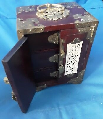 Antique Frank Yuen & Co Hong Kong Rosewood Ivory Brass Jewelry Box ca1940/50s