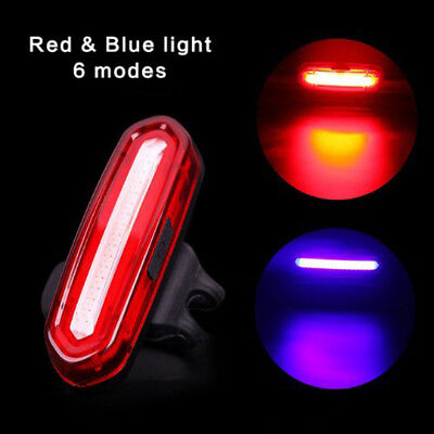Rechargeable LED COB Bicycle Bike Cycling Rear Tail Light Lamp Safety Warning