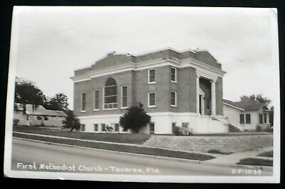 1950s RPPC First Methodist Church, Alfred St., Tavares Florida