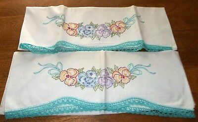 Pair Vintage Pansy Flowers Hand Embroidered Crochet Edge Pillowcases