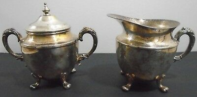 Antique Silver Plate Footed Creamer + Sugar Bowl With Lid