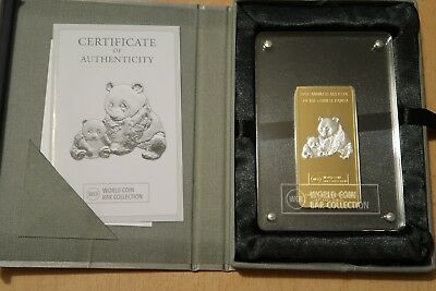 World Coin Bar 2012 Panda Gabun 1000 Francs CFA 1 Unze Silber WCB Collection