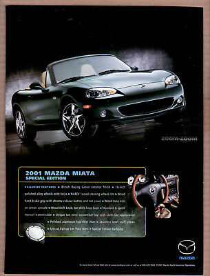 2001 Mazda Miata Special Edition Print Ad (British Racing Green)