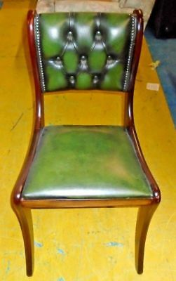 REGENCY Chesterfield Style Green Leather Button Back Home Office Chair - BA6