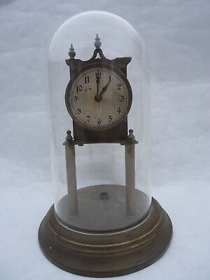 Antique Domed Brass 400 Day  Clock. Spares Or Repair