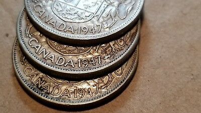 Lot Of 3 1947 Canada Silver Half Dollars 50 Cents Straight/curved & Maple Leaf