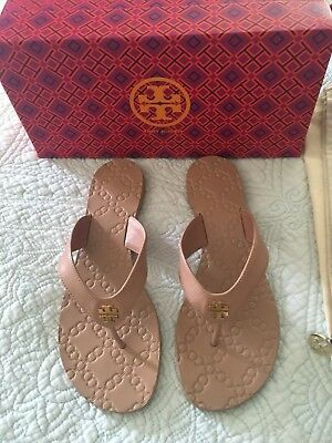 aa7300ca703 NEW TORY BURCH Monroe Thong Sandals Flip Flop Flops White Leather W ...