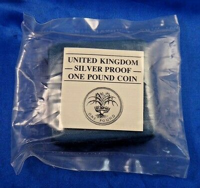 1985 UK 1 Pound Proof Silver Coin Welsh Leek Royal Mint Box COA Sealed Unopened