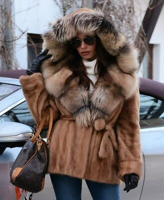 New Pastel Mink Fur Long Jacket Hood Fox Class Trench Chinchilla Sable Vest Coat