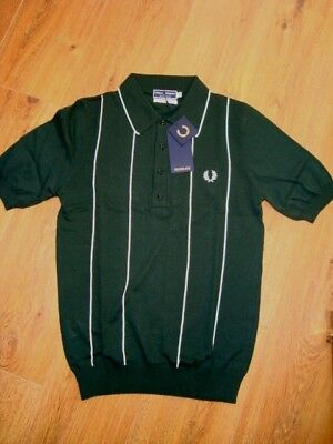 """NEW FRED PERRY K8114 FINE COTTON KNITTED Polo shirt top TARTAN GREEN 36"""" SMALL"""