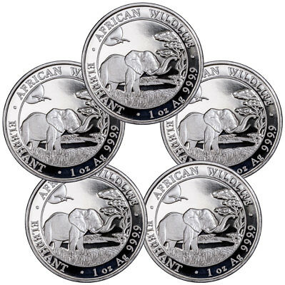 Lot of 5 2019 Somalia 1 oz Silver Elephant Sh100 Coins GEM BU SKU55250
