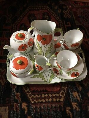 Old German Tea Set with Poppies Art Nouveau in Style