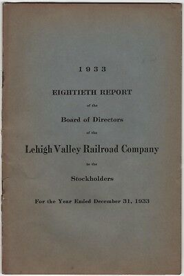 Lehigh Valley Railroad 1933 80th Report Board of Directors to Stockholders Stock