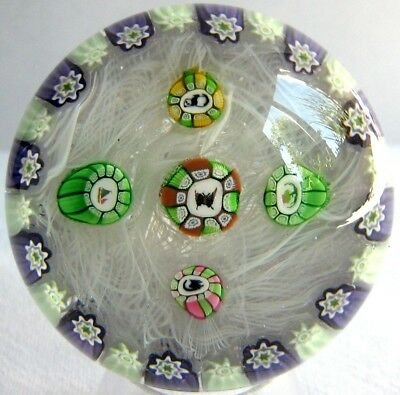 Briefbeschwerer / Paperweight PERTHSHIRE PP47 Millefiori on Lace, 4 Picturecanes