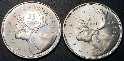 Lot of 2x Canada 1968 Silver 25 Cent Quarters - Mint Condition