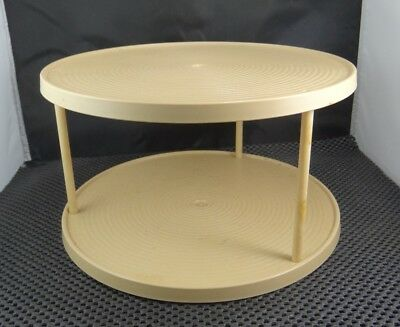 """Vintage Two-Tier Lazy Susan Turntable Organizer Beige approx 10 3/4"""" x 5 3/4"""""""