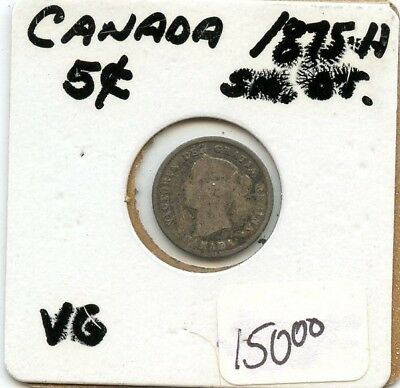 1875-H Sm. Date Canada 5 Cent Silver Coin From Estate!!!! .starts @ 2.99