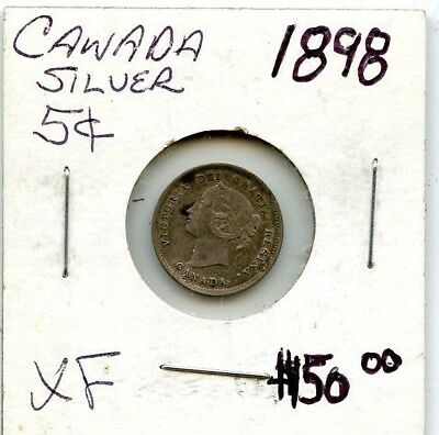 1898 Xf Canada 5 Cent Silver Coin From Estate!!!! .starts @ 2.99