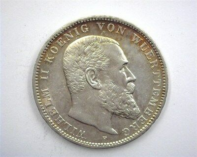 Wurttemburg 1912-F Silver 3 Mark -German State- Choice Uncirculated