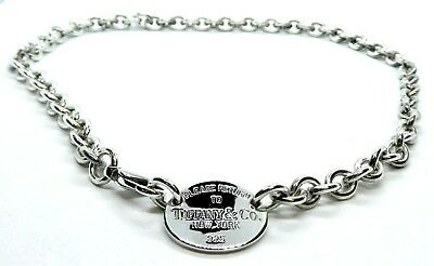 """Tiffany & Co. Sterling Silver Return To Tiffany Oval Tag 17"""" Choker Necklace"""