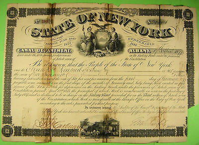 New York Canal Department Bond 1877, terrible condition but very scarce.