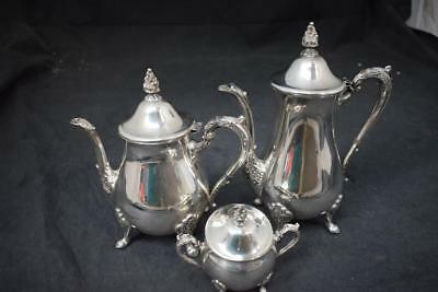 08da07da5520a Vintage Viners Silver Plate Tea   Coffee Pot Set With Covered Sugar Bowl