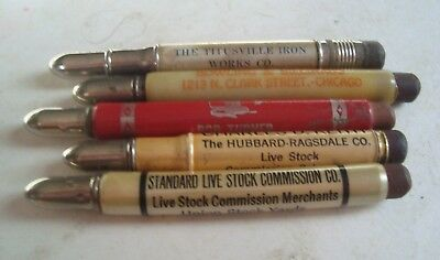 Vintage lot of 5 bullet pencils Minn Ohio ILL PA live stock bowling iron works